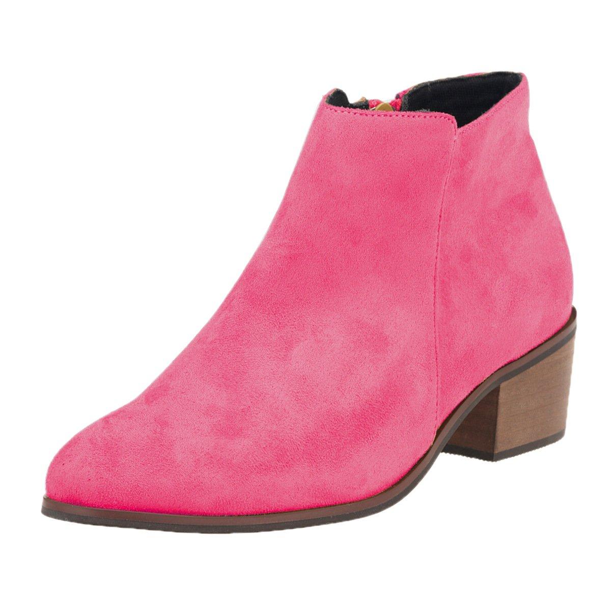 DYF Frauen Schuhe Kurze Stiefel Farbe Größe Größe Größe Scharfe Rauhe Ferse Reißverschluss, Mae Rot FLA, 42 8e1377