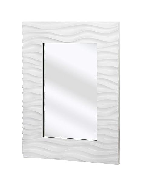 Majestic Mirror Wave Frame Wall Mirror, White Lacquer: Amazon.co.uk ...