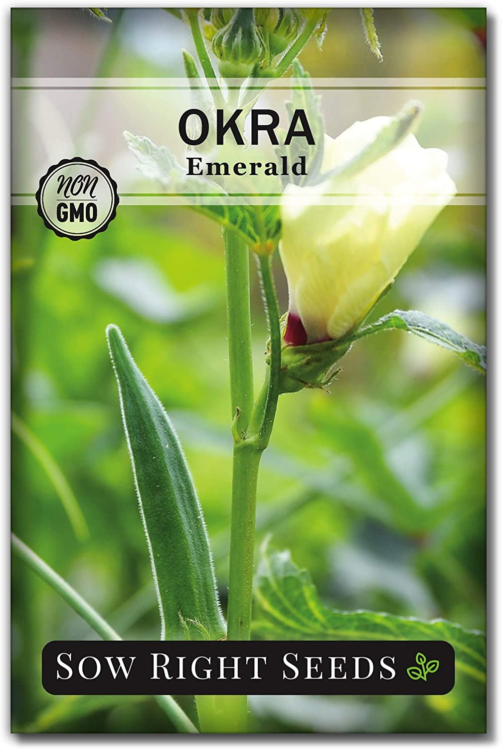 Sow Right Seeds - Emerald Okra Seed for Planting - Non-GMO Heirloom Packet with Instructions to Plant a Home Vegetable Garden - Great Gardening Gift (1)