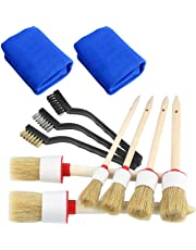 TOOGOO Auto Detailing Brush Set 11 Pcs, Car Cleaner Brush Set Including Natural Boar Hair Detail Brush, Wash Towel Cloth for Cleaning Exterior Interior