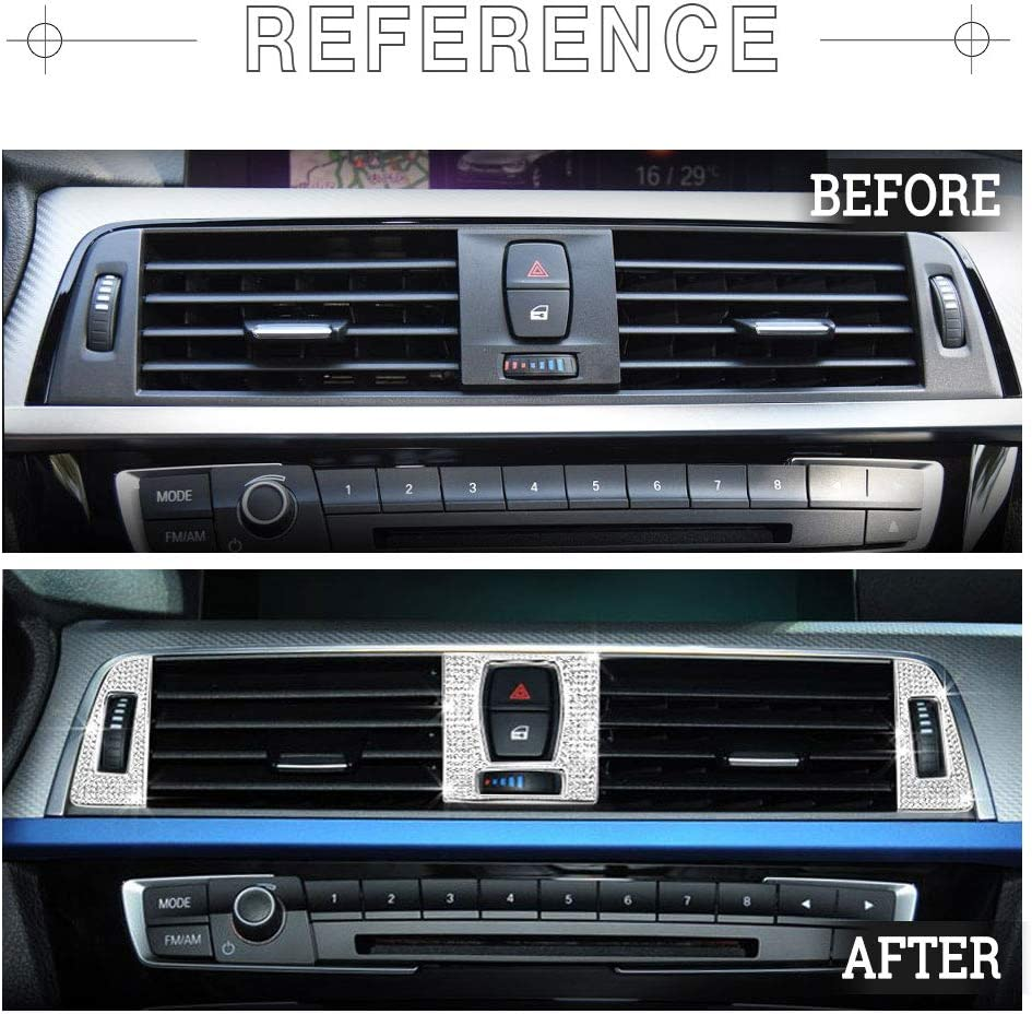 1797 Compatible Rear LOGO Caps for BMW Accessories Parts Emblem Covers Decals Stickers Bling Interior Decorations 3 Series F30 G20 320i 325i 325ix 328d 328i 330i 335i AWD Women Men Crystal Silver
