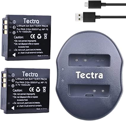 /&USB Charger 2x CGA-S005 Batetry for Panasonic Lumix DMC-FX12 FX100 FX150 FX180