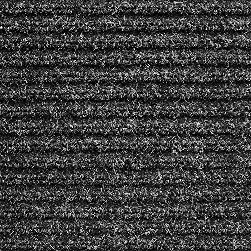 House, Home and More Heavy-Duty Ribbed Indoor/Outdoor Carpet Rubber Marine Backing - Charcoal Black 6' x 10' - Carpet Flooring Patio, Porch, Deck, Boat, Basement Garage