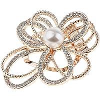 Baoblaze Flower Scarf Clip Brooch Pin Rhinestone Scarf Buckle Ring for Wedding Women