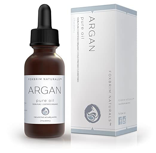 Foxbrim 100% Pure Organic Argan Oil for Hair, Skin, Face & Nails - Virgin Cold Pressed - 2 fl. oz.