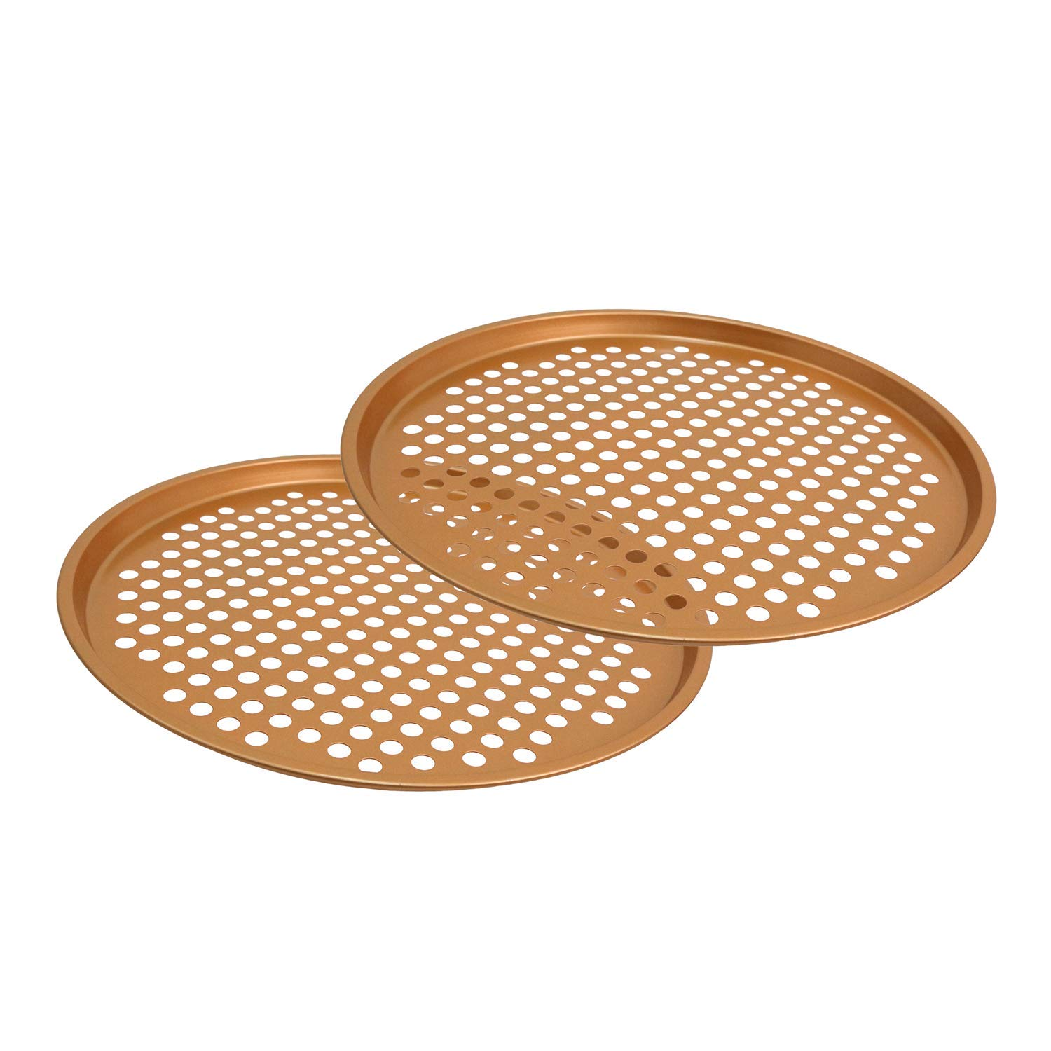 "CLM 13"" Ceramic Coated Copper Pizza Pan - Premium Nonstick Bakeware, Dishwasher & Oven Safe PTFE/PFOA Free - Baking Tray for Crispy Even Crust"