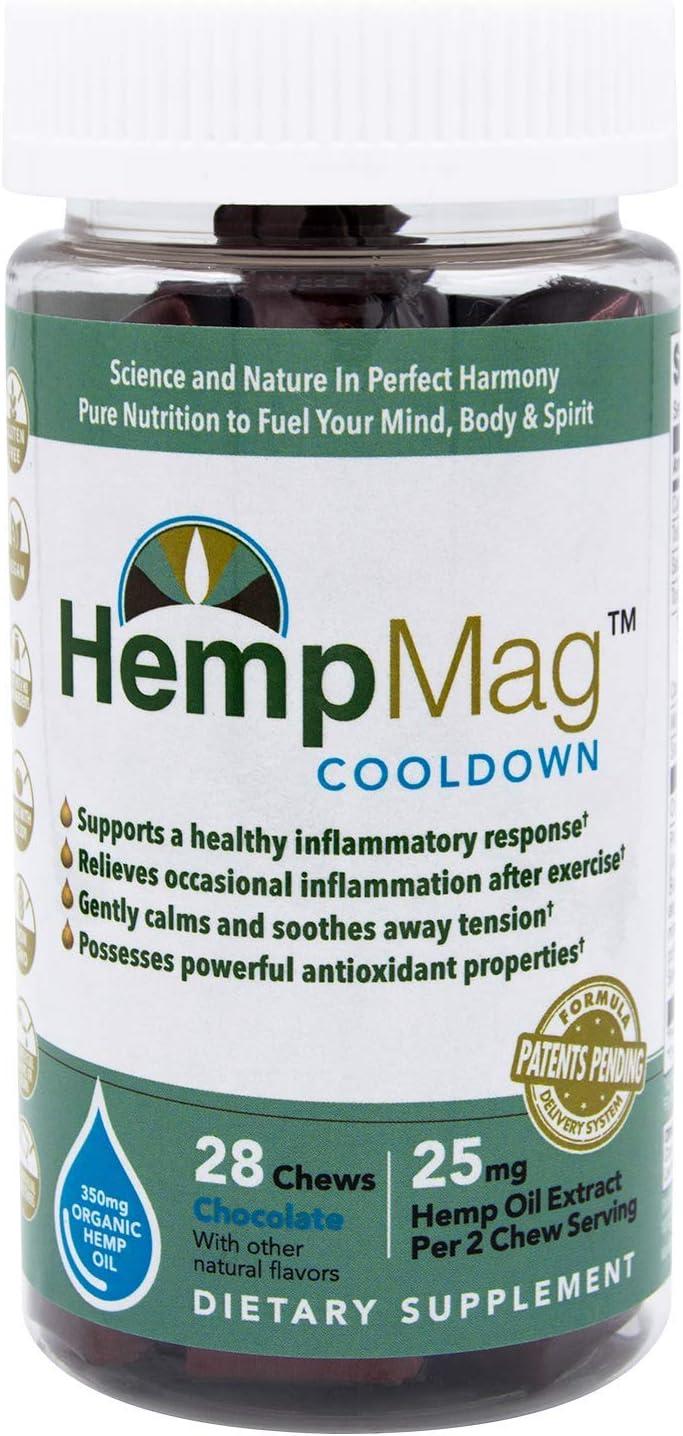 HempMag COOLDOWN - Organic Hemp Oil Extract (350 mg / 28 ct) - Magnesium - B-Vitamins, Biotin, Niacin-Bound Chromium, Albion Boron/Molybdenum/Selenium (Glycinate) - Full Spectrum Support