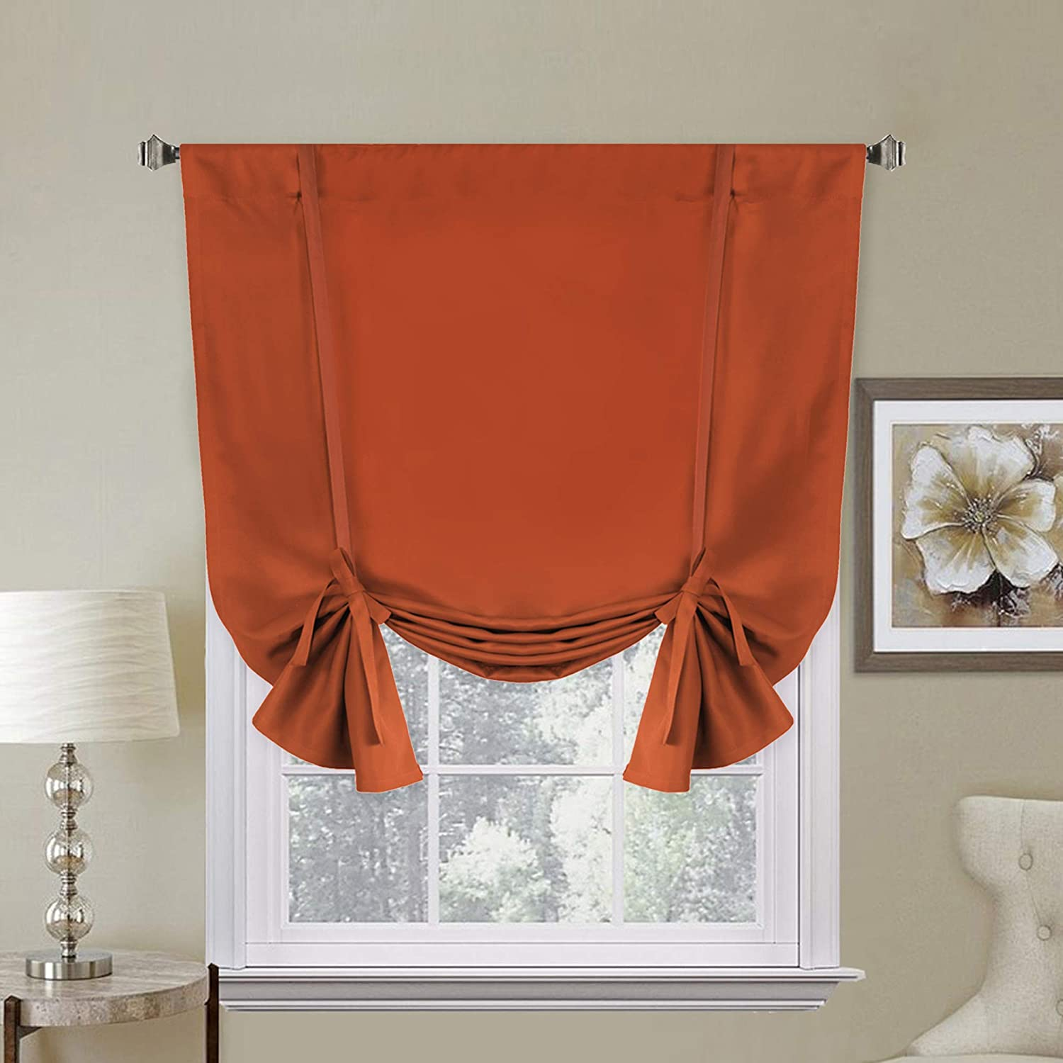H.Versailtex Thermal Insulated Blackout Curtain, Adjustable Tie Up Shade (Rod Pocket Panel for Small Window) - 42