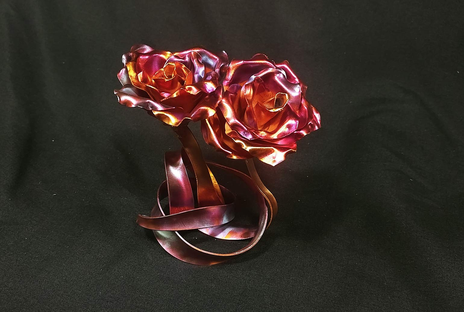 """silk flower arrangements """"tie the knot"""" copper rose #1646r *save 15% see below* steampunk wedding industrial 7th anniversary unique mother's valentine's day christmas"""