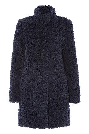 Womens High Collar Faux Fur Coat Ladies Blue Size M L Xl Xxl