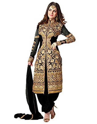 2edb5f5d71 Fliponn Women's Embroidered Georgette Semi-Stitched Salwar Suit (Black)
