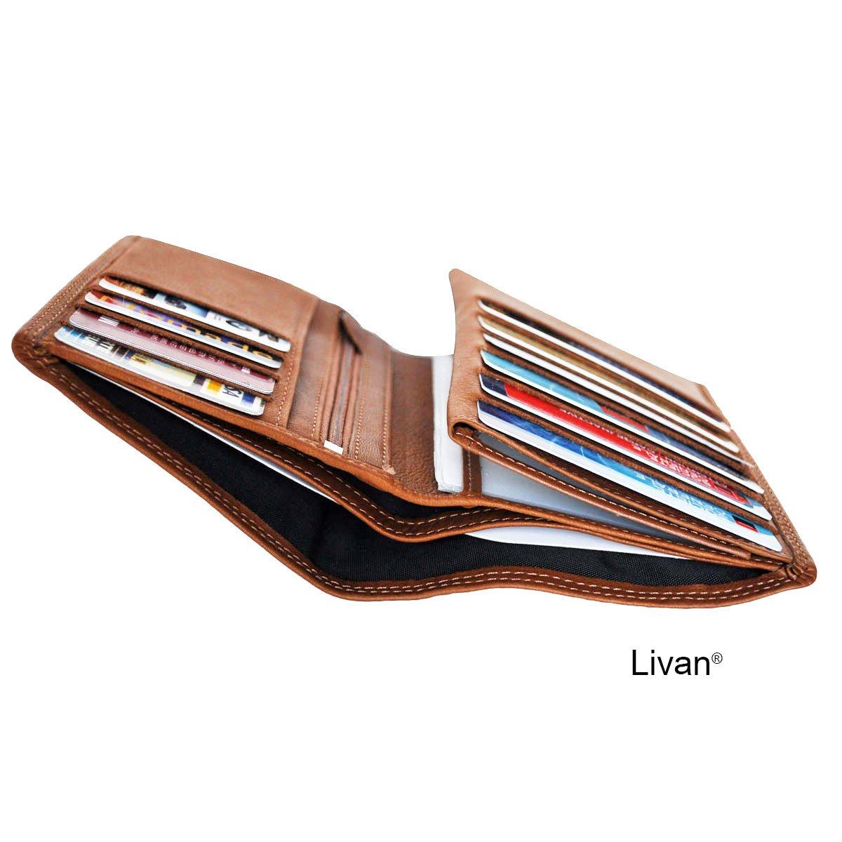 Livan - Grand Classique Portefeuille 4 Volets tr ès Complet -12  emplacements Cartes - Papier Voiture identit é - en Cuir de Vachette ... c148173e129