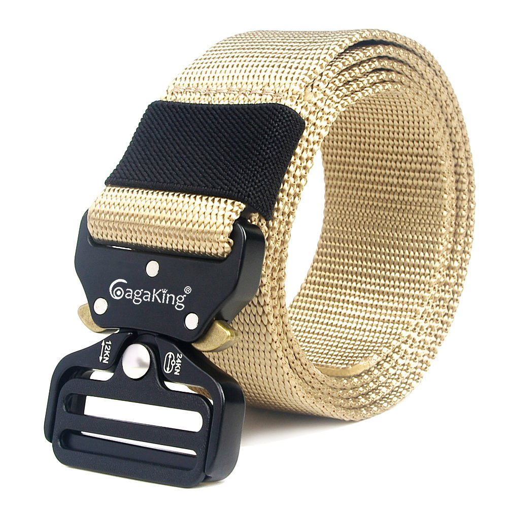 Tactical Belt, Military Style Adjustable Nylon Web Belt Heavy-Duty Riggers Belt with Quick-Release Metal Buckle B2