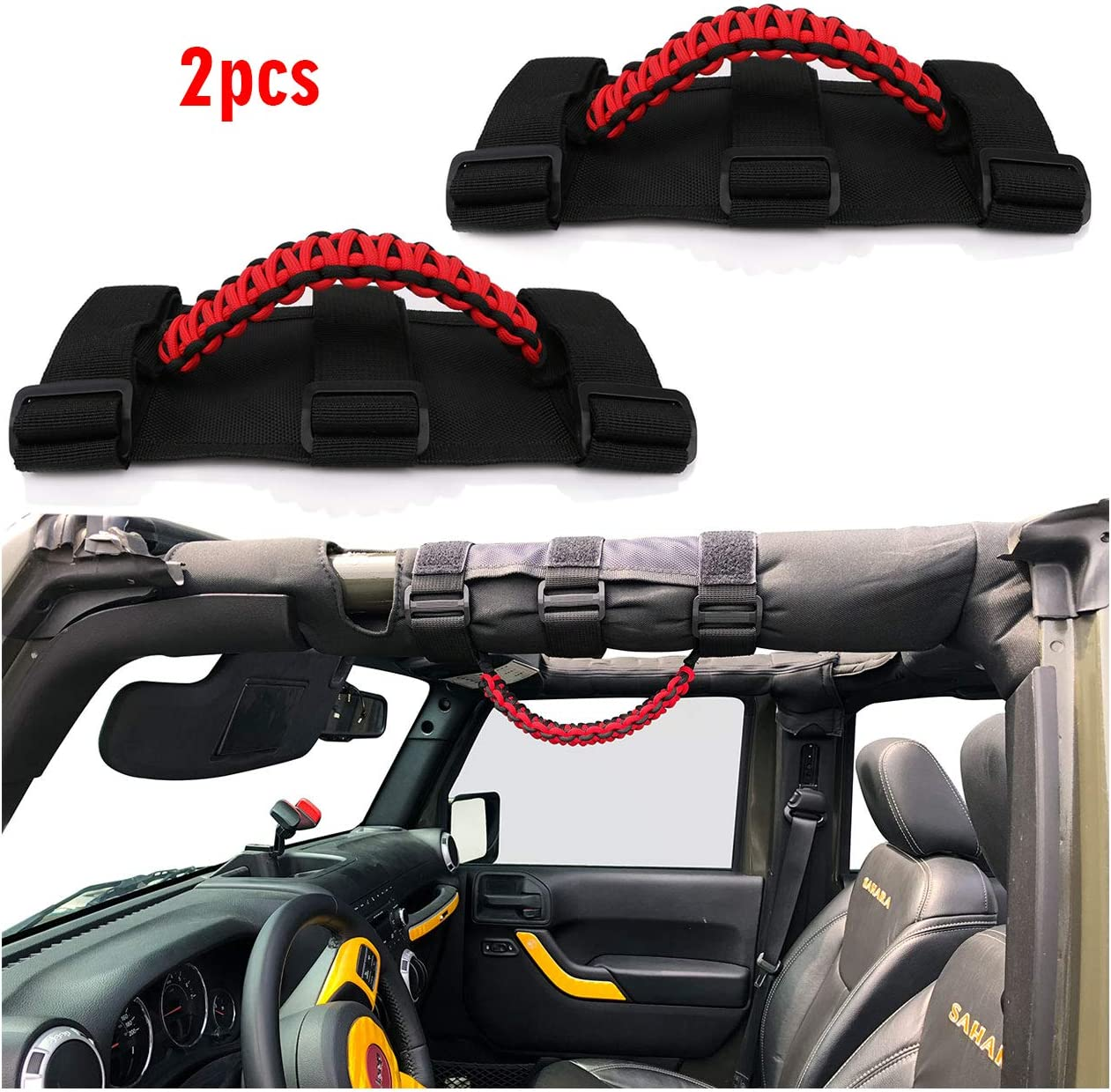 Black,Set of 4 Pieces Jade Onlines Durable Tie Down Straps Soft Top Straps Window Roll Up Snap Straps Sunrider Straps for Jeep Wrangler 2007-2020