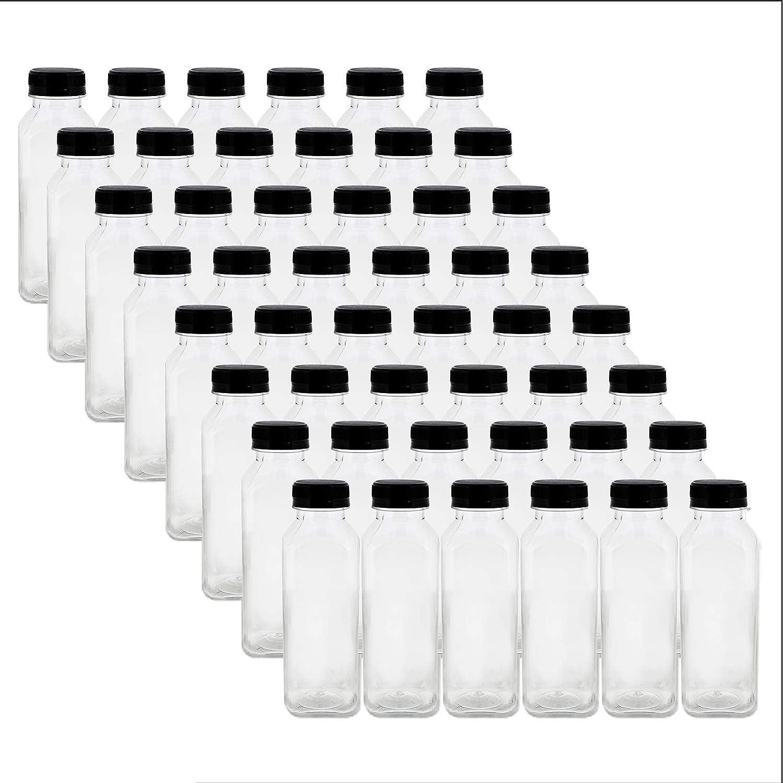 12oz Plastic Bottles with Caps, Clear 48pk - Empty PET Juice Containers Bottle in Bulk, Black Tamper Resistant Lids
