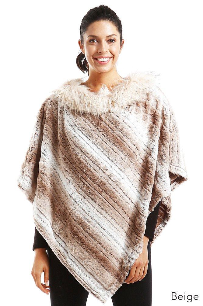 ScarvesMe Faux Fur Soft Striped Warm Winter Poncho (Beige)
