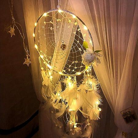 Rameng Plume Dream Catcher LED Guirlande Lumineuse Capteur de R/êves Attrape R/êves Murale D/écor E