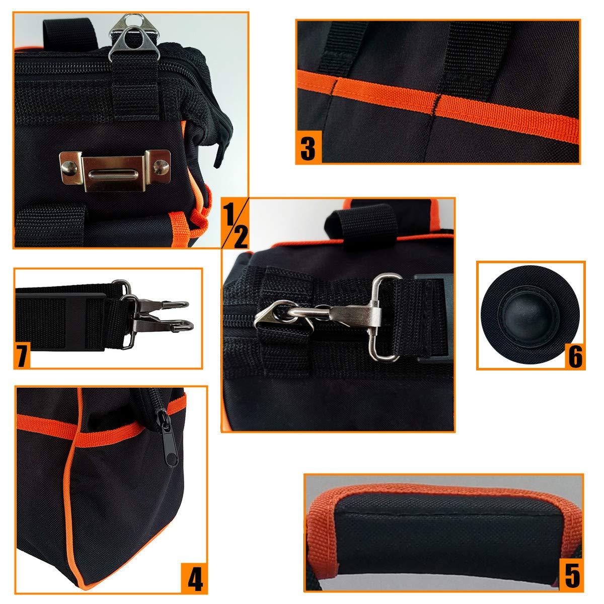 Copechilla bolsa herramientas profesional,multifuncional y gran capacidad,35X28X10CM,600D doble capa de Oxford tela impermeable,Negro,para electricista t/écnico mantenimiento,taladro,multimeter