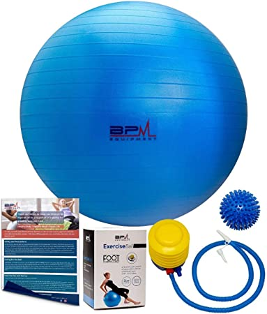 BPM Premium Exercise Ball with Pump, Bonus Massage Ball! Access to Workout Guide. Yoga Ball, Stability Ball, Heavy Duty Office Ball Chair. Anti-Burst ...
