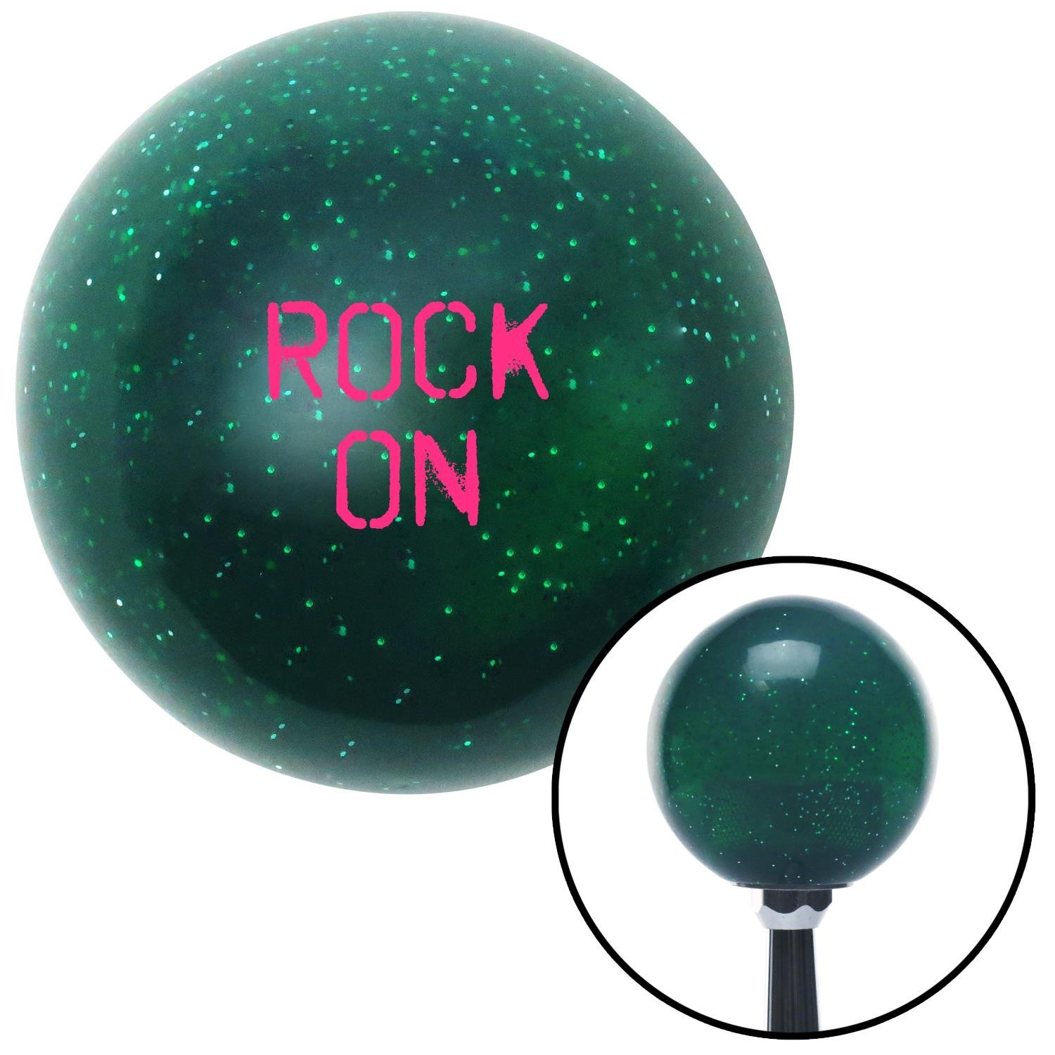 Company Pink Rock On Green Metal Flake with M16 x 1.5 Insert American Shifter 284338 Shift Knob