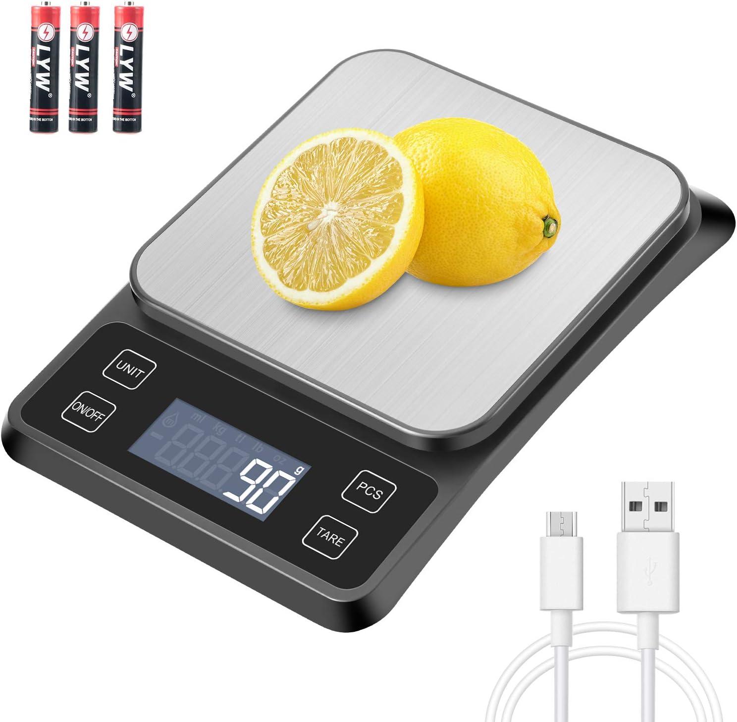 MOSUO Báscula Digital para Cocina con Cable USB, Báscula Cocina Digital 10kg/1g Peso de Cocina, Balanza de Alimentos Acero Inoxidable con Gran Pantalla LCD, Función de Tara (Baterias Incluidas)