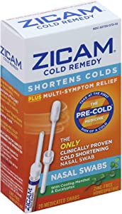 Zicam Cold Remedy Nasal Swabs with Cooling Menthol & Eucalyptus, 20 Count (Pack of 1)