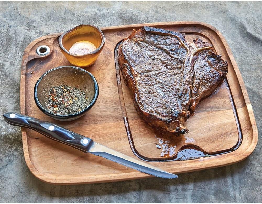 Ironwood Gourmet 11x13 Wood Steak Serving Plate.