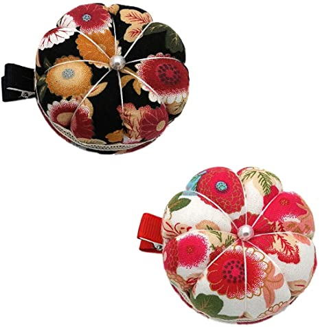 Chris.W 2 piezas de cojines de muñeca para máquina de coser, soporte de pinzas de calabaza floral, muñequera, almohadones, agujas para coser: Amazon.es: Amazon.es