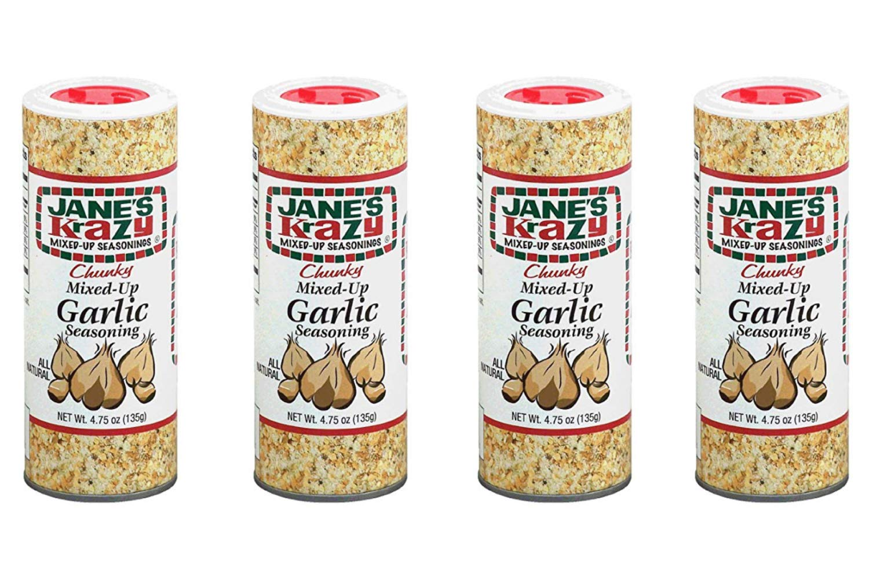 Jane's Krazy Chunky Mixed-Up Garlic Seasoning, 135 grams, (4 Pack)