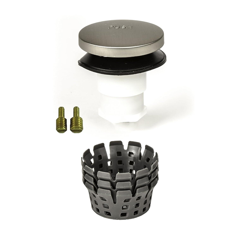 No No Hair Catcher Brushed Nickel PF WaterWorks PF0950-BN Universal Lift n Turn Bath Tub//Bathtub Drain Stopper includes 3//8 and 5//16 Fittings Twist Close