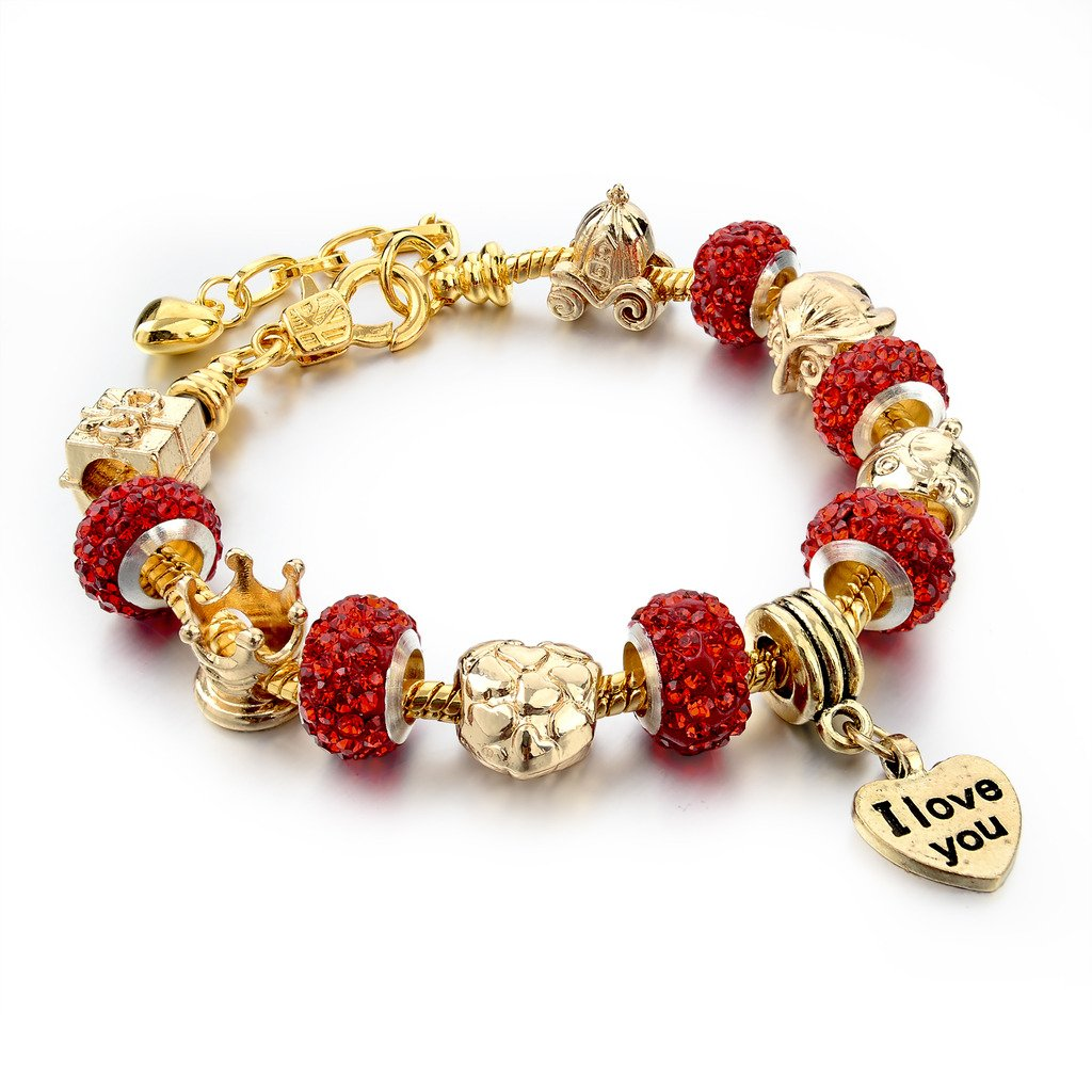 Long Way Gold Plated Snake Chain Glass Beads ''I Love You'' Charm Beaded Bracelets for Women by Long Way (Image #2)