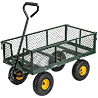 VIVOHOME Heavy Duty 1100 Lbs Capacity Mesh Steel Garden Cart Folding Utility Wagon with Removable Sides and 10 Inch Wheels (Green)
