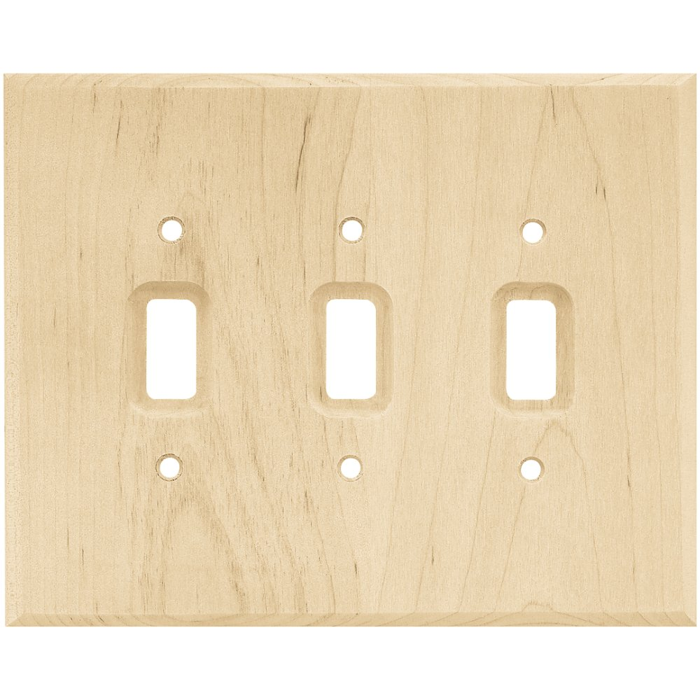 Franklin Brass W10395-UN-C Square Triple Toggle Switch Wall Plate/Switch Plate/Cover, Unfinished Wood