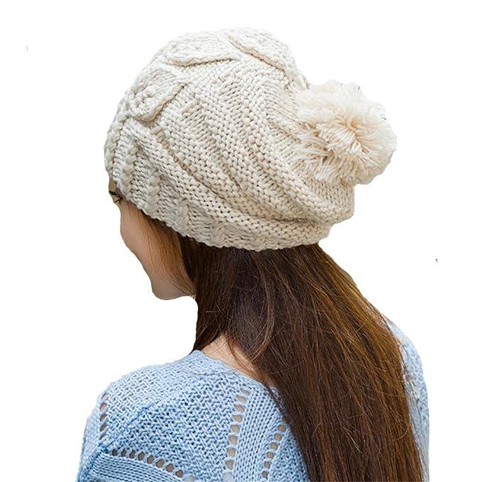 dcfb541f56522 BIBITIME Handmade Knitted Leaf Crochet Hat Women Winter Warm Cap with Pom  Pom (One Size