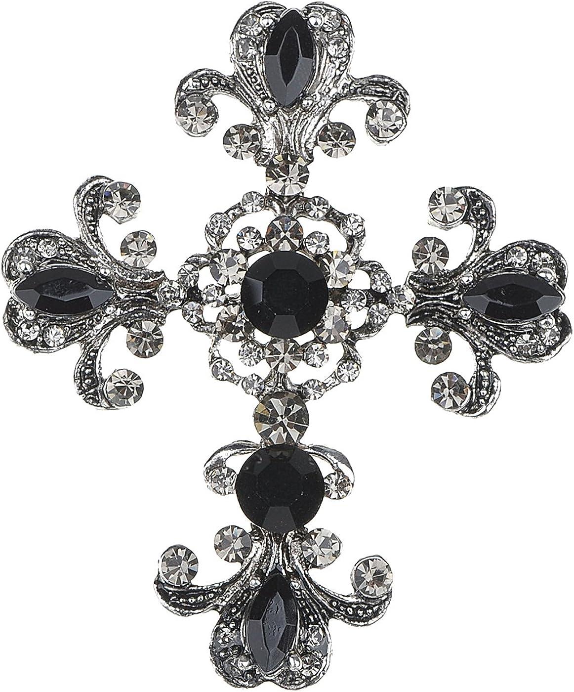 Rhinestone Claddagh Clover Cross Bracelet and Brooch