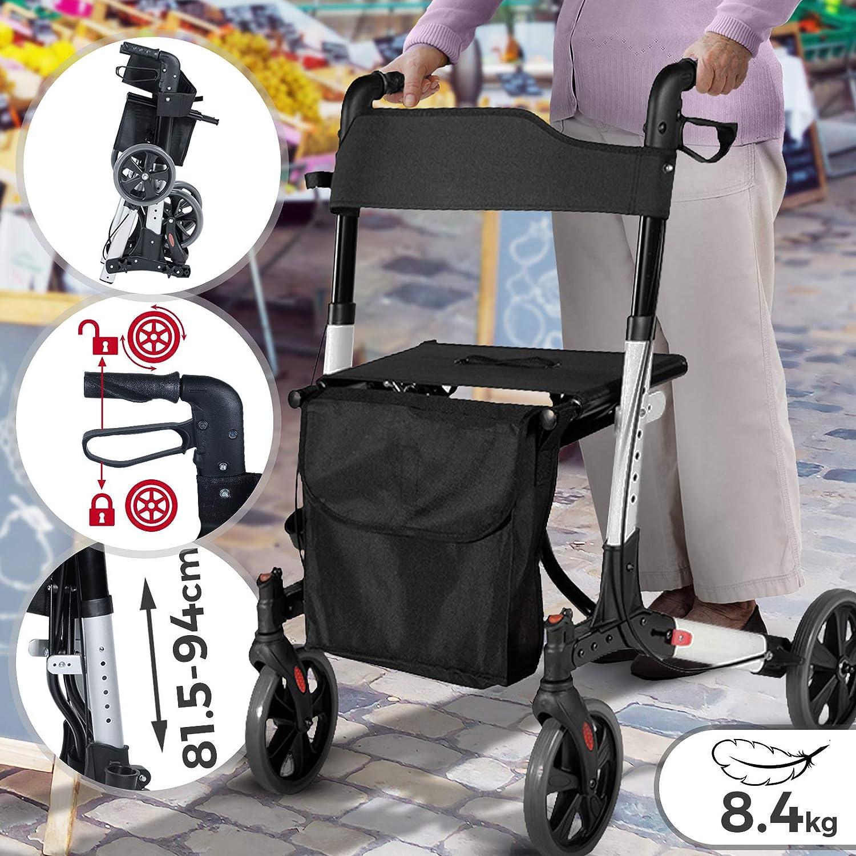 Andador para Ancianos Plegable - Asiento con Respaldo, 4 Ruedas / Frenos / Bolsa Auxiliar & Soporte para Bastón, Altura Regulable, de Aluminio - Rollator, Caminador Mayores