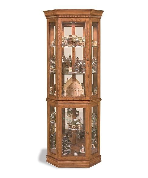 Philip Reinisch Lighthouse Classic Oak Corner Curio Cabinet