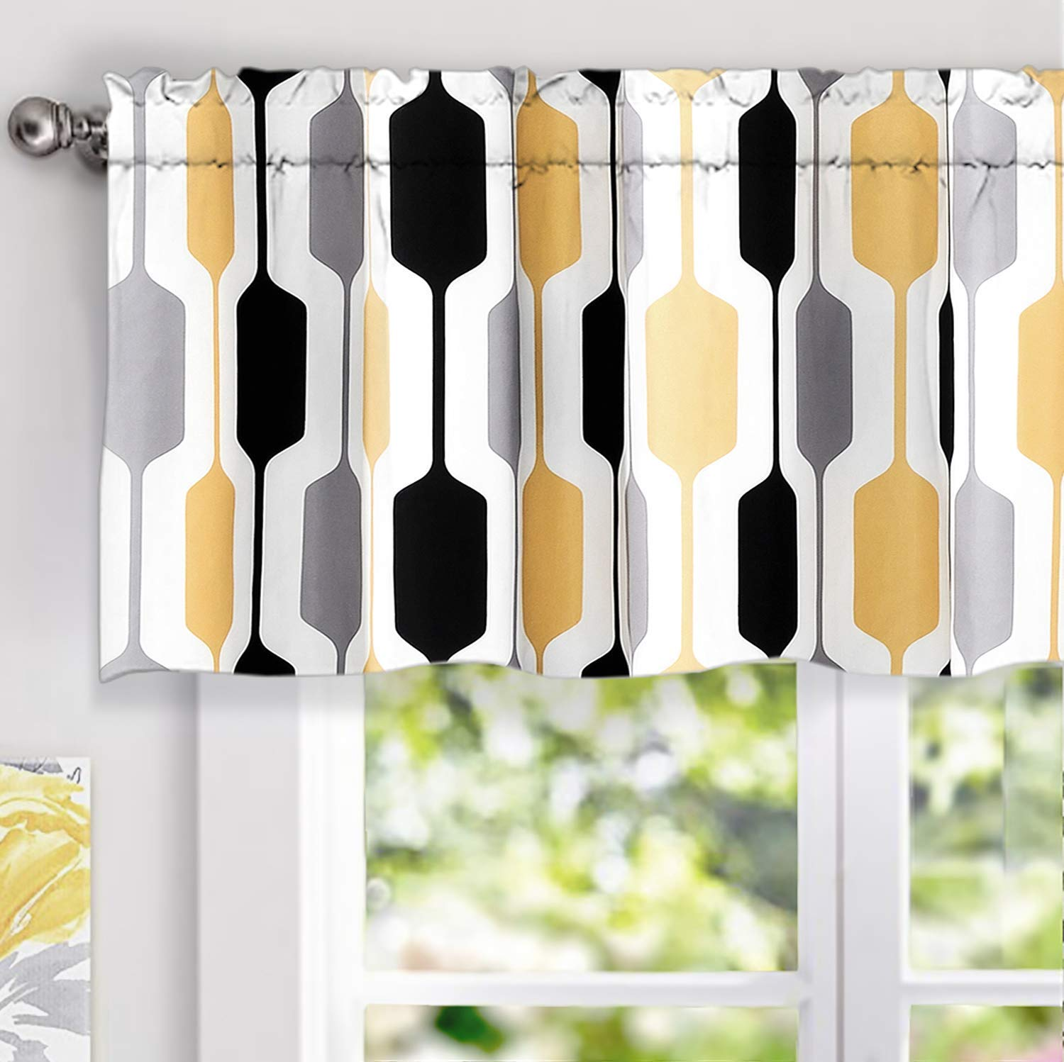 "DriftAway Riley Geo Lined Window Curtain Valance, Mid Century Geometric Pattern, 2 Layer, Rod Pocket, 52""x18""+2"" Header(Yellow/Gray/Black)"