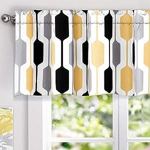 "DriftAway Riley Geo Lined Window Curtain Valance, Mid Century Geometric Pattern, 2 Layer, Rod Pocket, 52""x18""+2"" Header(Yellow/Gray/Black)"