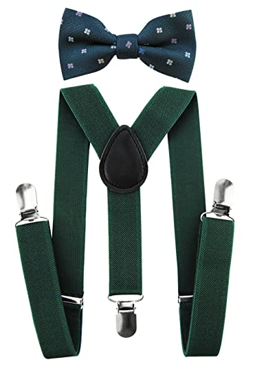 axy Kinder Hosenträger-Y Form mit Fliege Set - 3 Clips EXTRA STARK-Uni Farben HTK25-3