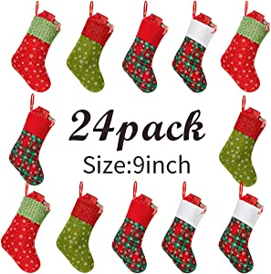 Townshine Mini Christmas Stockings, 9 inch Small Glitter Round Dots Snowflake Printed Felt Cuff Stocking Gift Card Bags Holders for Xmas Tree Decorations (24)