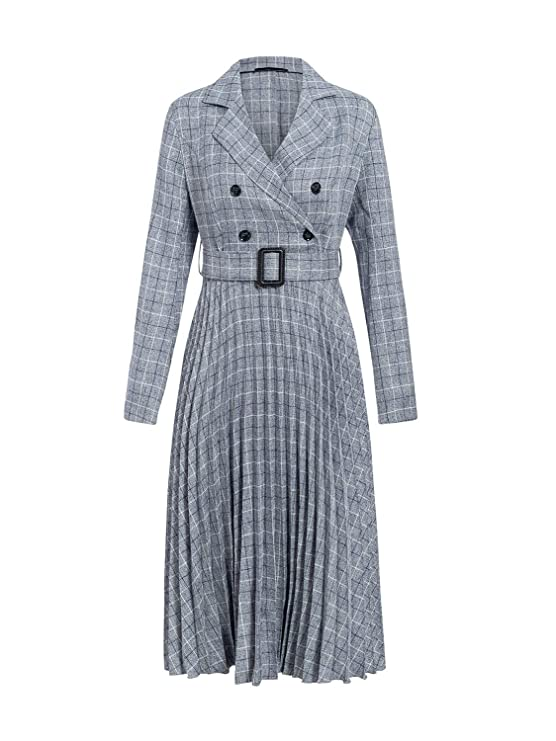 1930s Dresses | 30s Art Deco Dress Miessial Wonens Long Sleeve Blazer Midi Dress Plaid Casual Pleated Dress Belt $32.99 AT vintagedancer.com