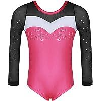 Dance Fairy Molliya Justaucorps Fille de Gymnastique,Manche Longues Colorées Perle Justaucorps pour Les Enfants