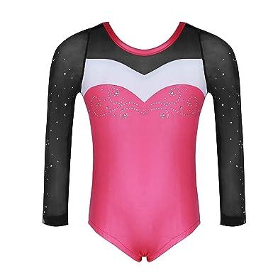 629aa7d59e58 Molliya Girls Gymnastics Leotard Long Sleeve One-Piece Sparkly Colorful  Athletic Dancing Leotard -Kids