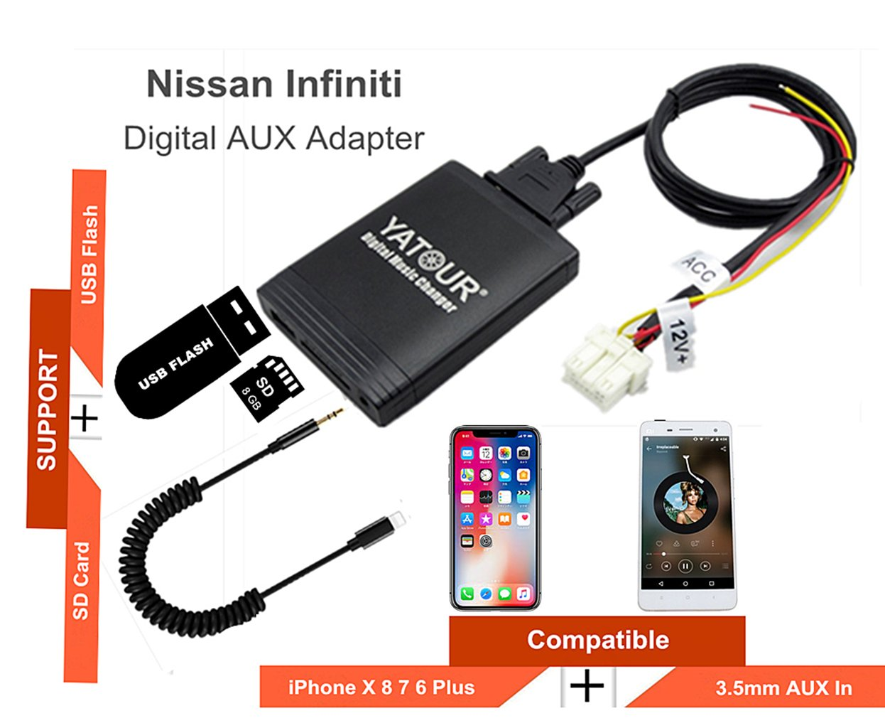 Nissan Infiniti Stereo AUX Adapter, Digital Car Audio Input Interface with SD Card, MP3 USB, 3.5mm AUX in, Music Player for Nissan Infiniti 1995-2011 (M06-NIS)