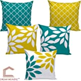Dream Weaverz Stylish Abstract Leaf Print Cushion Cover, Made Of Velvet & Dupion With Clear 3D Print (16*16 Inch) (Yellow & Green, Set Of 5)