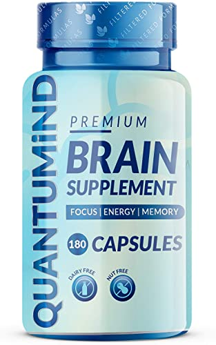Nootropics Brain Supplement – Focus Supplement for Memory Concentration Clarity Energy – Mental Health and Memory Supplement for Brain with Ashwaganda – QUANTUMiND by Filtered Formulas 180