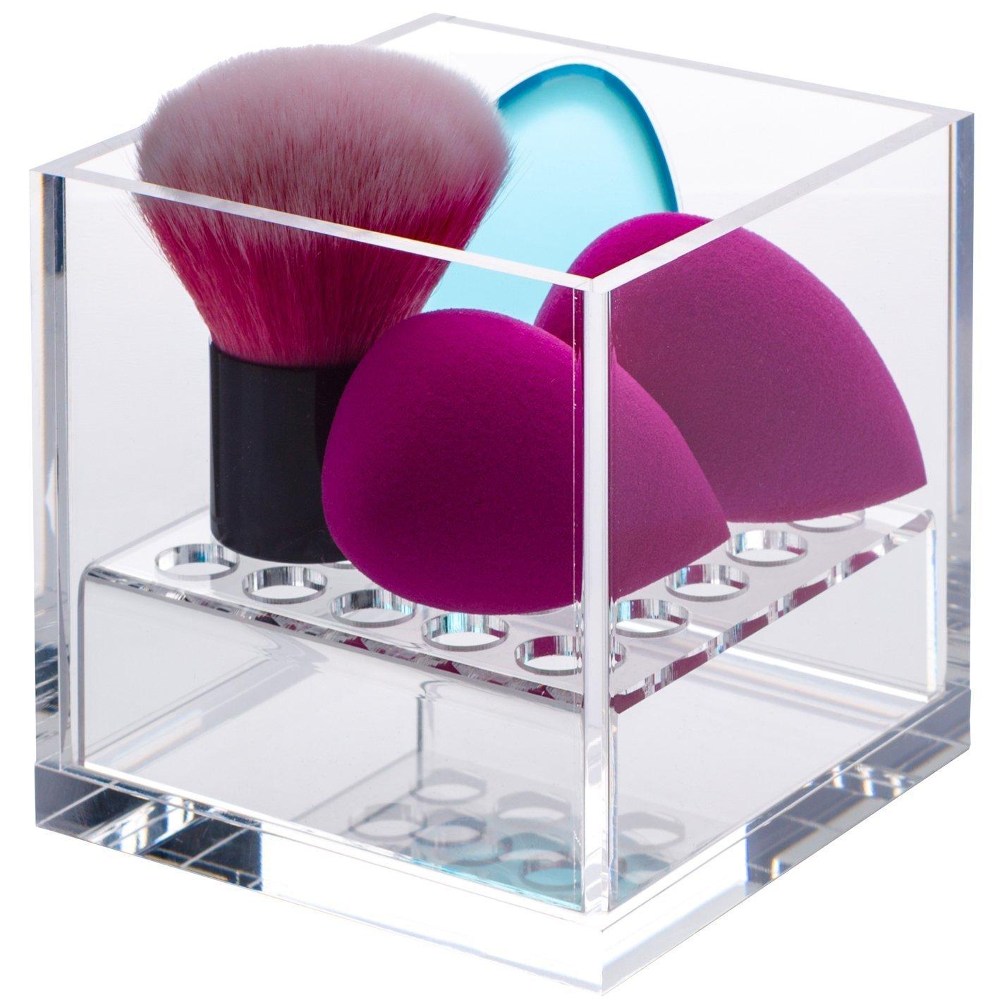 新しい。アクリルキューブコスメティックオーガナイザー、メイクアップブラシホルダーCup withピンク、ゴールド、ブルー、パープル&クリアクリスタル Cube 透明 B06XZX81R7 Crystal-clear