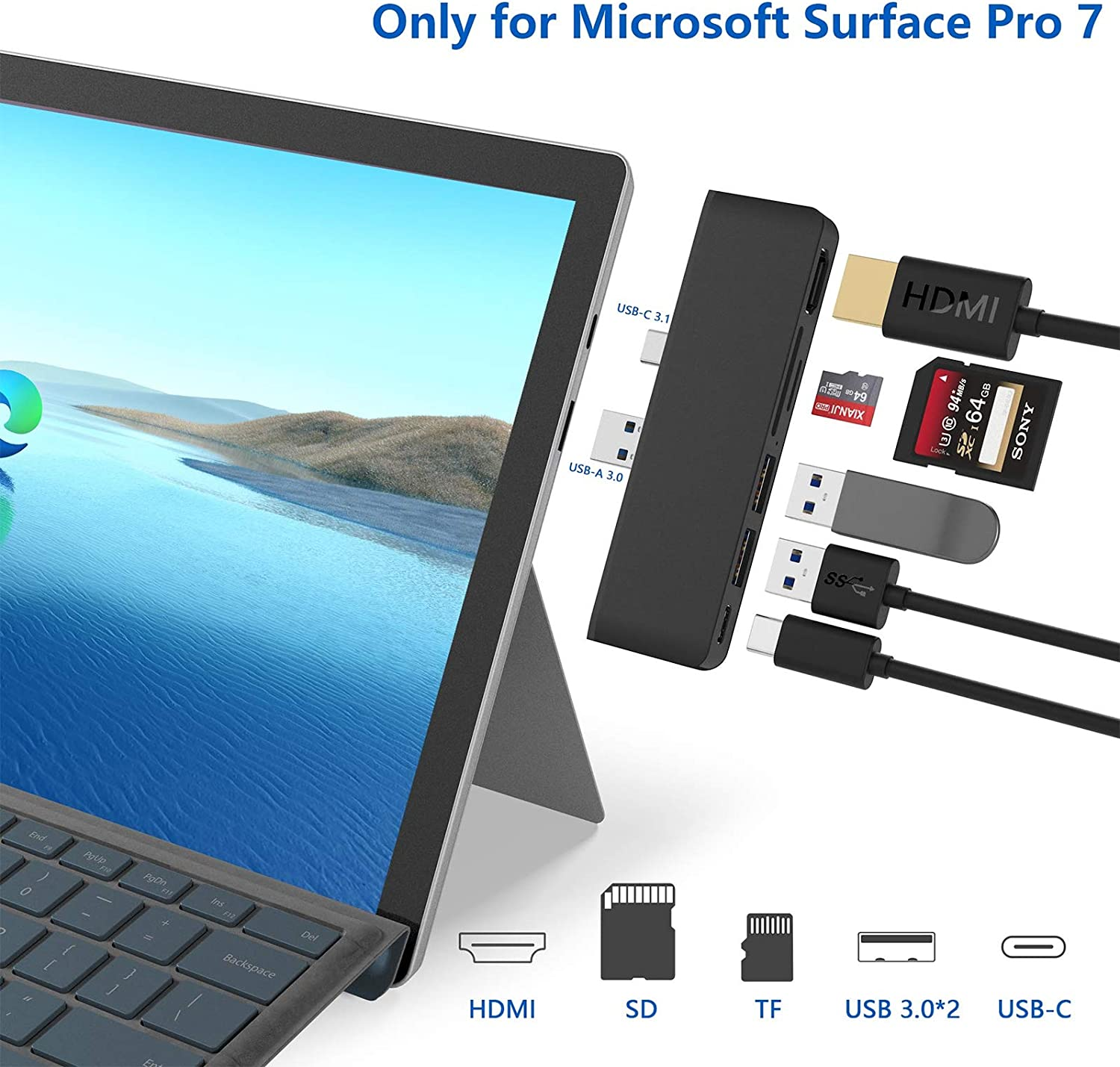 Microsoft Surface Pro 7 Hub,6-in-2 USB C Surface Pro 7 Docking Station with 4K HDMI Adapter+ USB C Port(Audio & Data)+2 USB 3.0 Port +SD/TF Card Reader,Converter Combo Adaptor for Surface Pro 7