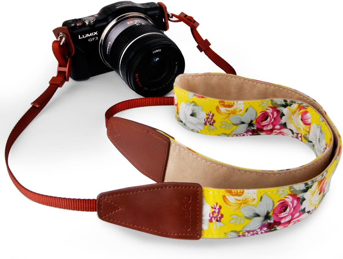DOPTO Universal Vintage Camera Shoulder Strap for Women for DSLR SLR Nikon Canon Sony Olympus Samsung Pentax Camera strap Belt for Mirrorless Camera Camera Neck Shoulder Belt Strap Pink Rose Floral